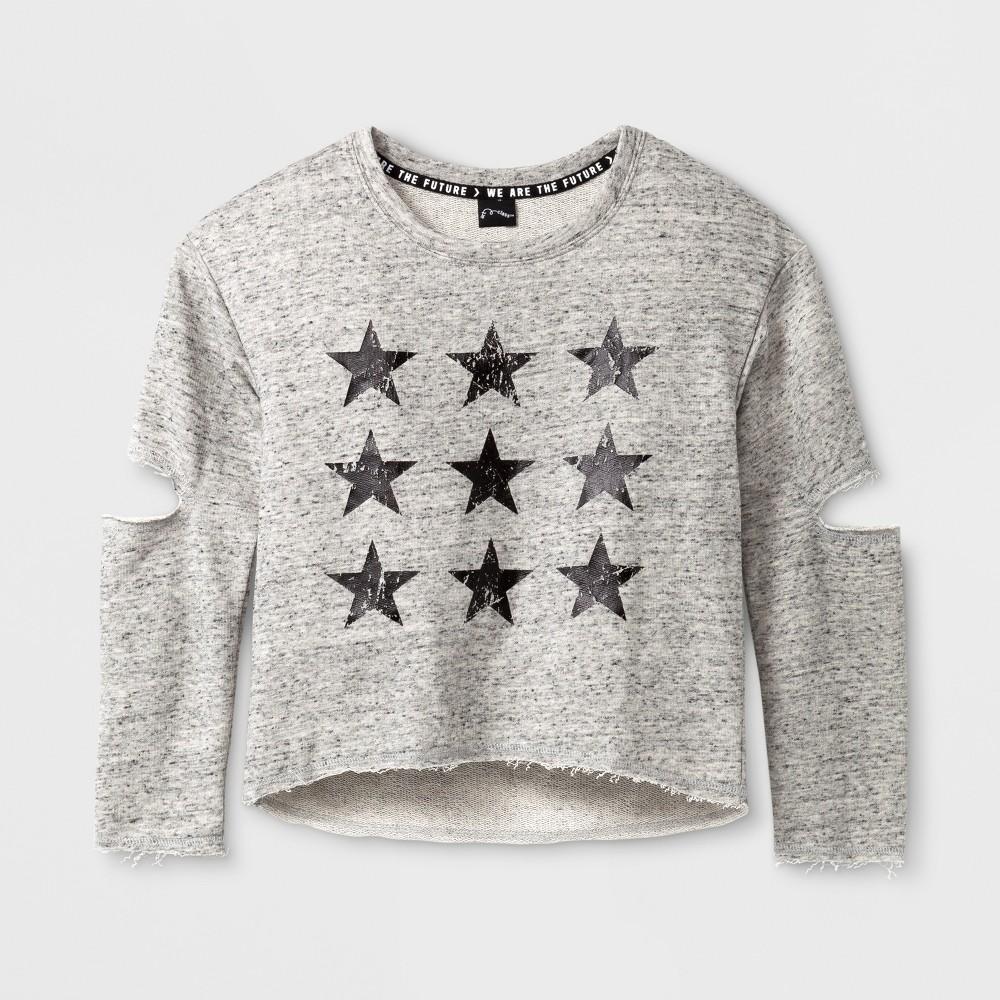 Girls Long Sleeve Star Pullover - Art Class Heather Gray M