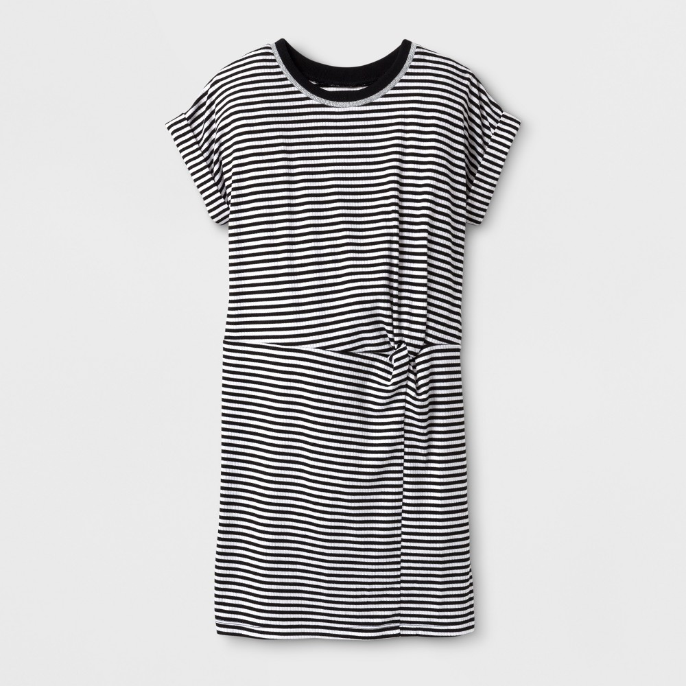 Girls Stripe T-Shirt Dress - Art Class Black XS