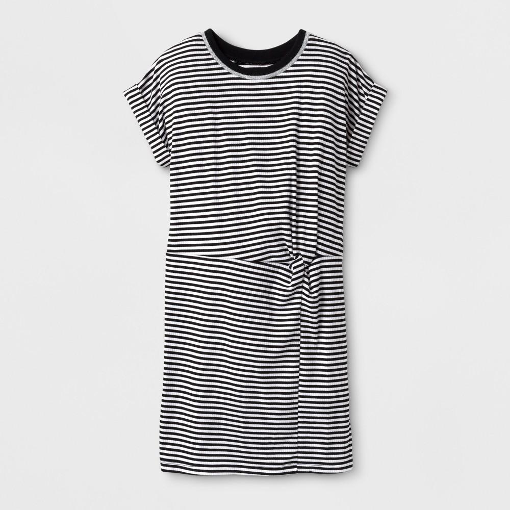 Girls Stripe T-Shirt Dress - Art Class Black S