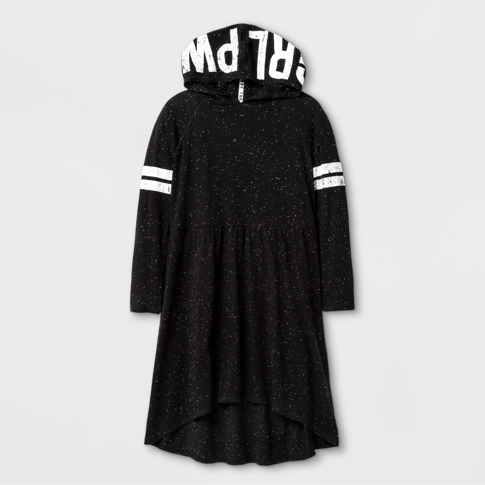 Girls Hooded T-Shirt Dress - Art Class Black XS