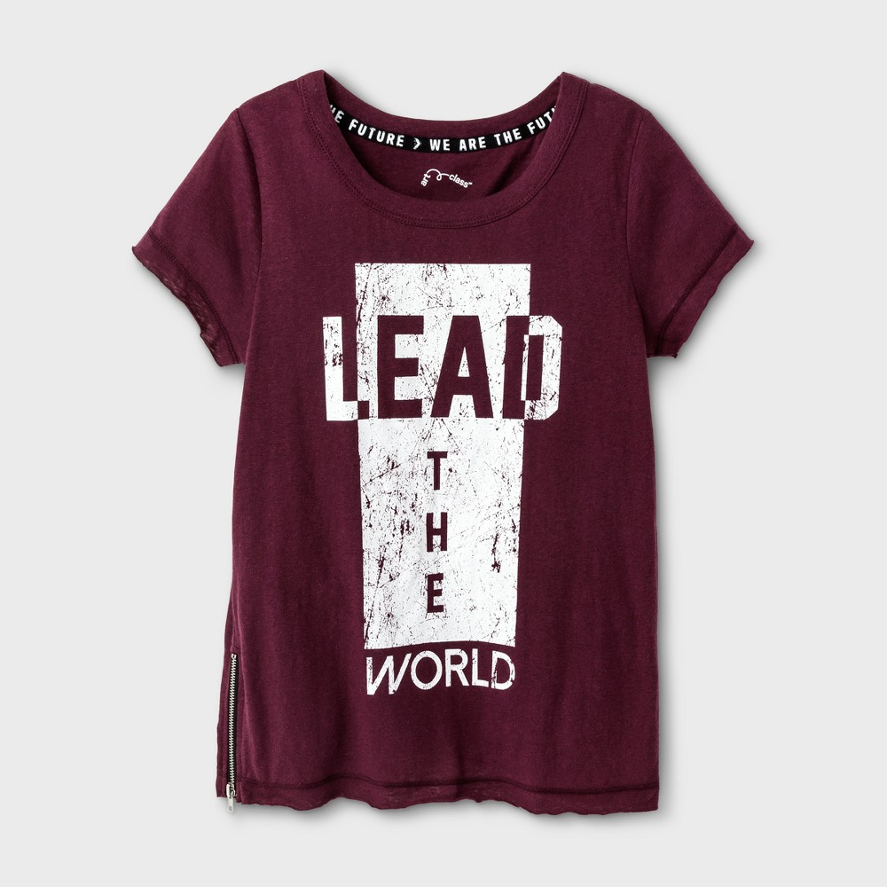 Girls Lead The World Graphic T-Shirt - Art Class Autumn Purple L
