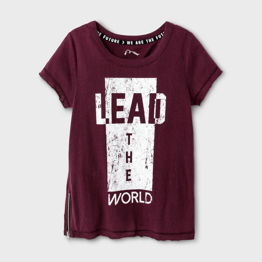 Girls Lead The World Graphic T-Shirt - Art Class Autumn Purple XS