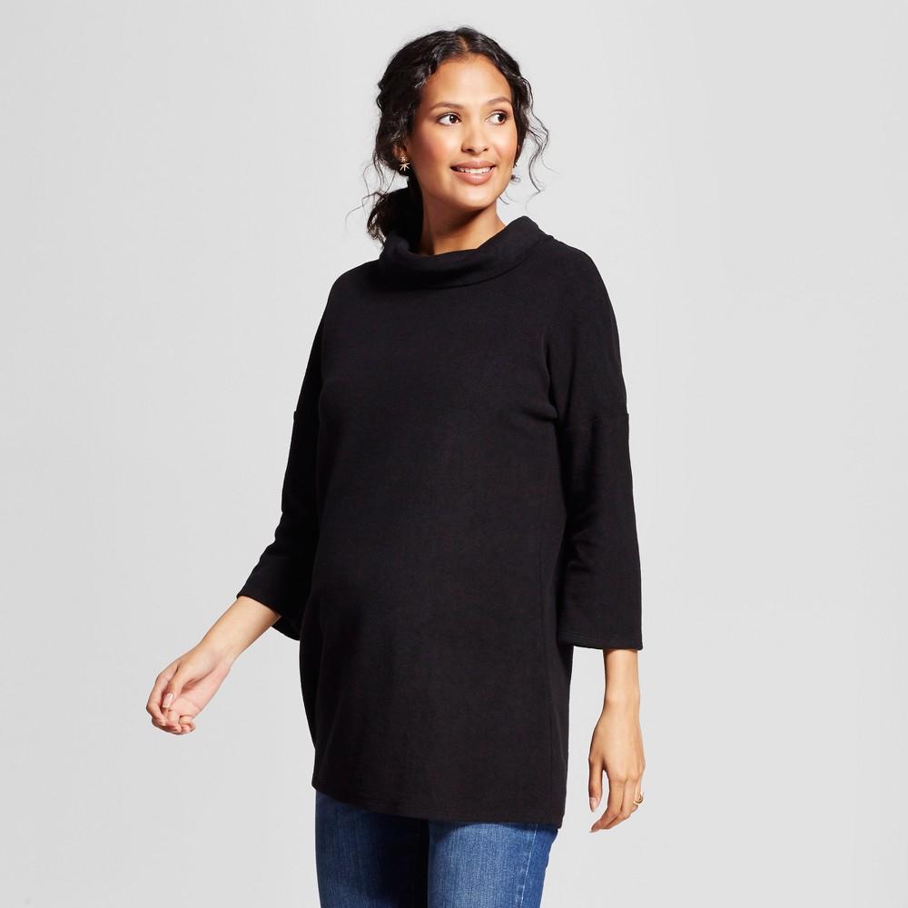 Maternity 3/4 Sleeve Cozy Fleece Pullover - Isabel Maternity by Ingrid & Isabel Black L, Women's
