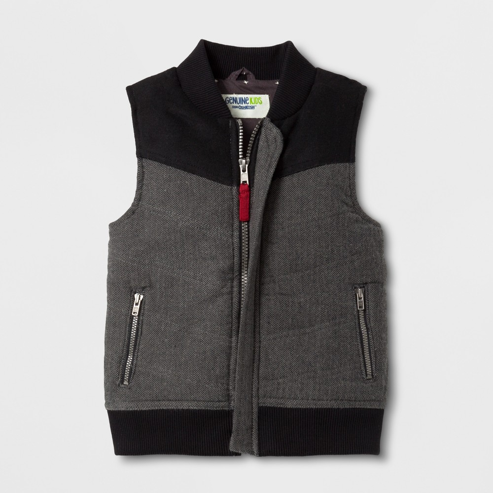 Toddler Boys Herringbone Puffer Vest - Genuine Kids from OshKosh Gray 5T