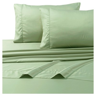 Egyptian Cotton Sateen Deep Pocket Solid Sheet Set (Queen)4pc Green 800 Thread Count - Tribeca Living®