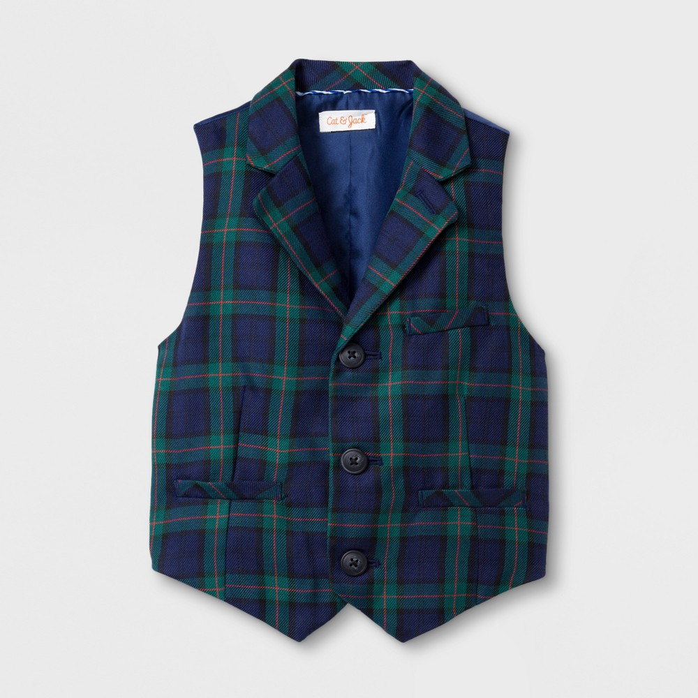 Toddler Boys Plaid Vests - Cat & Jack Navy 5T, Blue