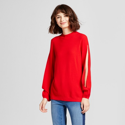 Women's Open Sleeve Pullover Sweater - Mossimo™ Red : Target