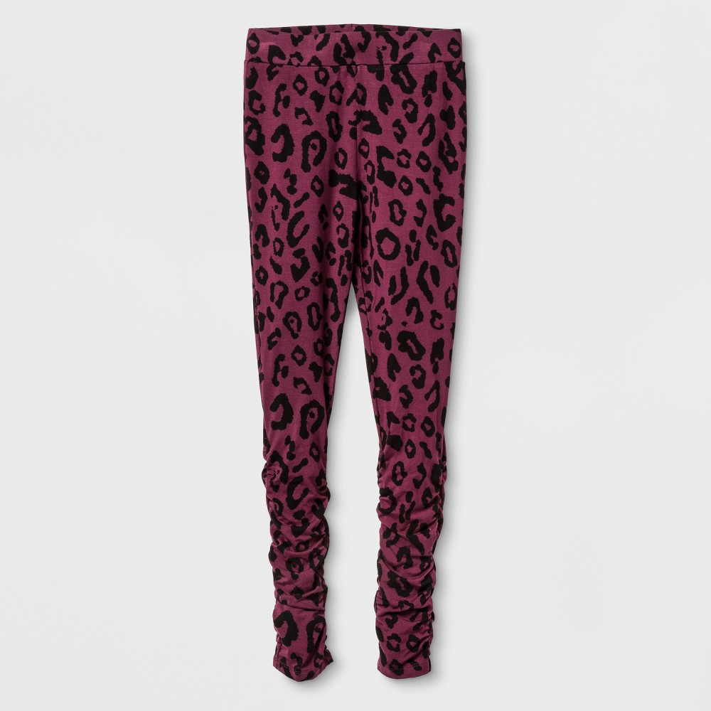 Girls Rouched Leggings - Art Class Autumn Purple Leopard M