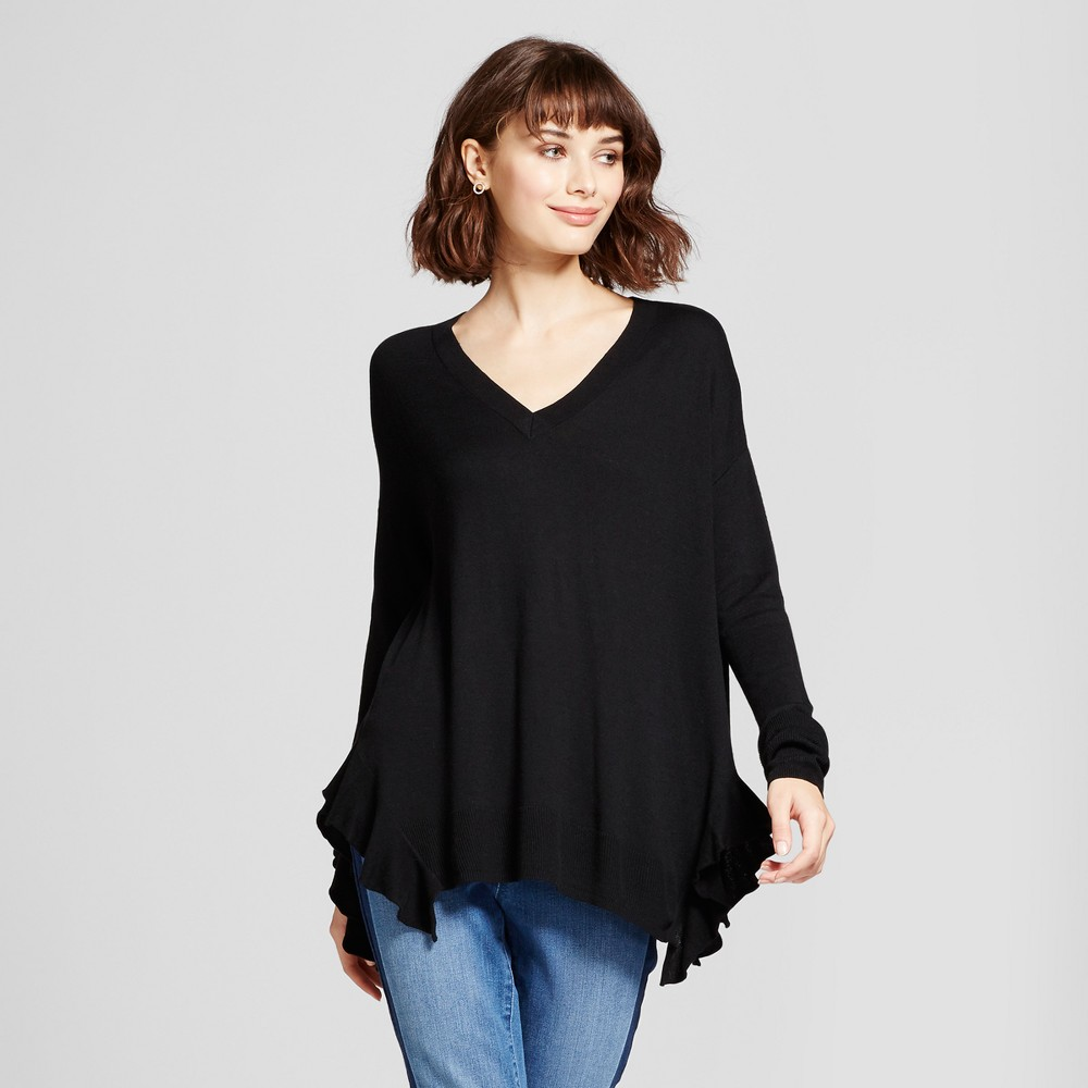 Womens Side Ruffle Pullover Sweater - Mossimo Black M