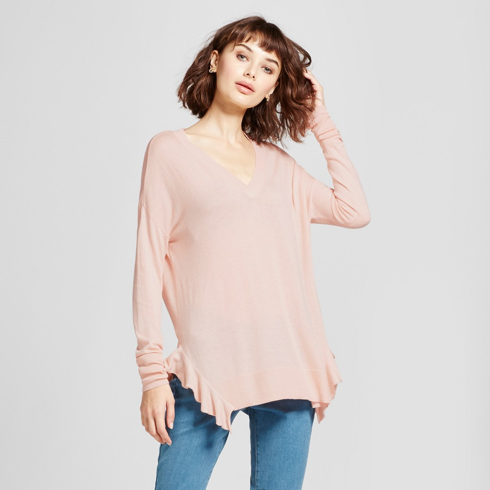 Womens Side Ruffle Pullover Sweater - Mossimo Pink M