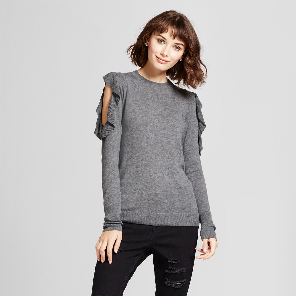 Womens Ruffle Cold Shoulder Pullover Sweater - Mossimo Heather Gray XS