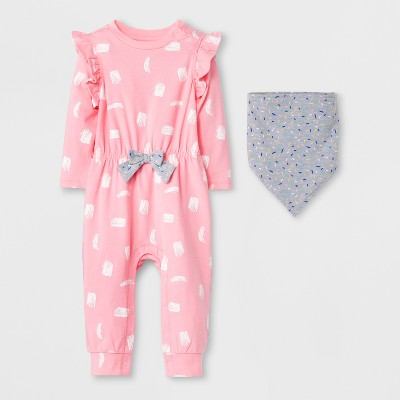 Baby Girls' 2pc Romper and Bib Set - Cat & Jack™ Pink Sprinkles NB