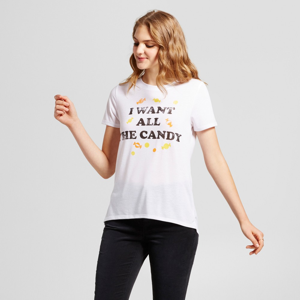 Womens I Want All The Candy Graphic T-Shirt White XS - Modern Lux (Juniors)