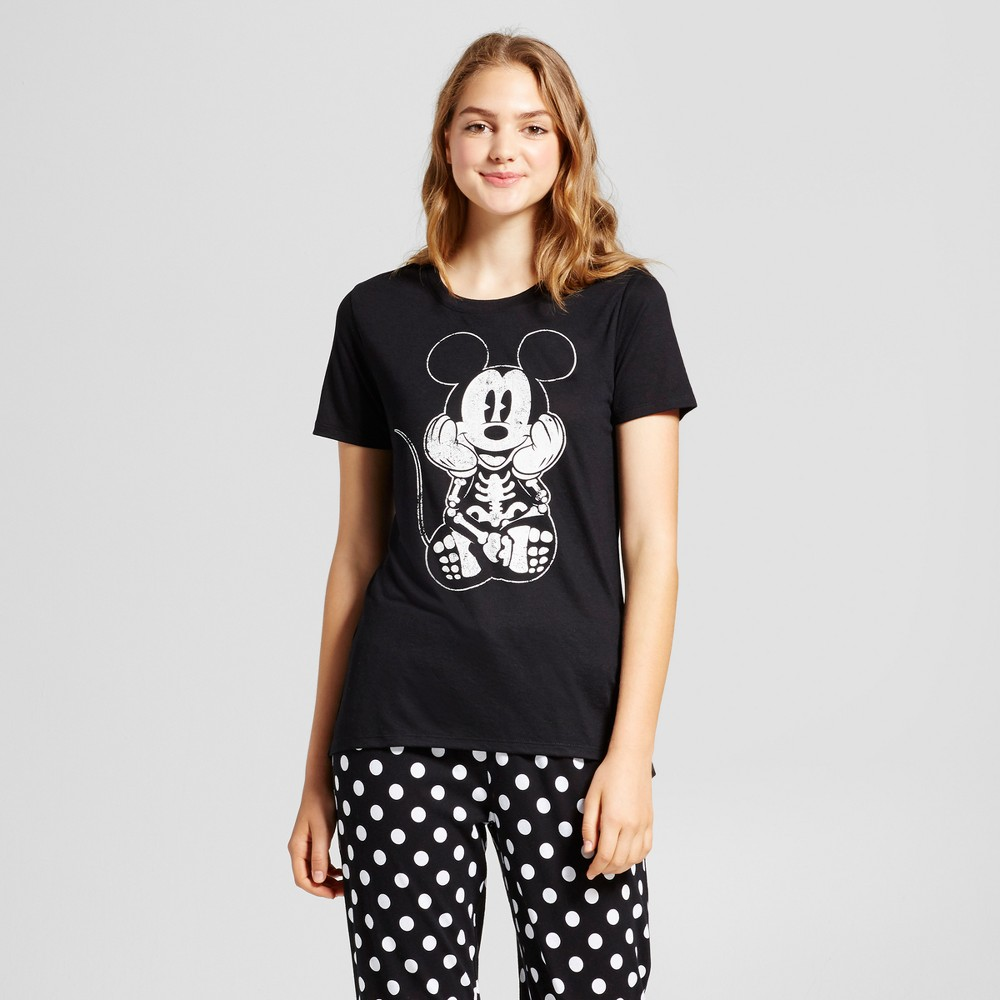 Womens Disney Mickey Skeleton Glow In The Dark Graphic T-Shirt Black L (Juniors)