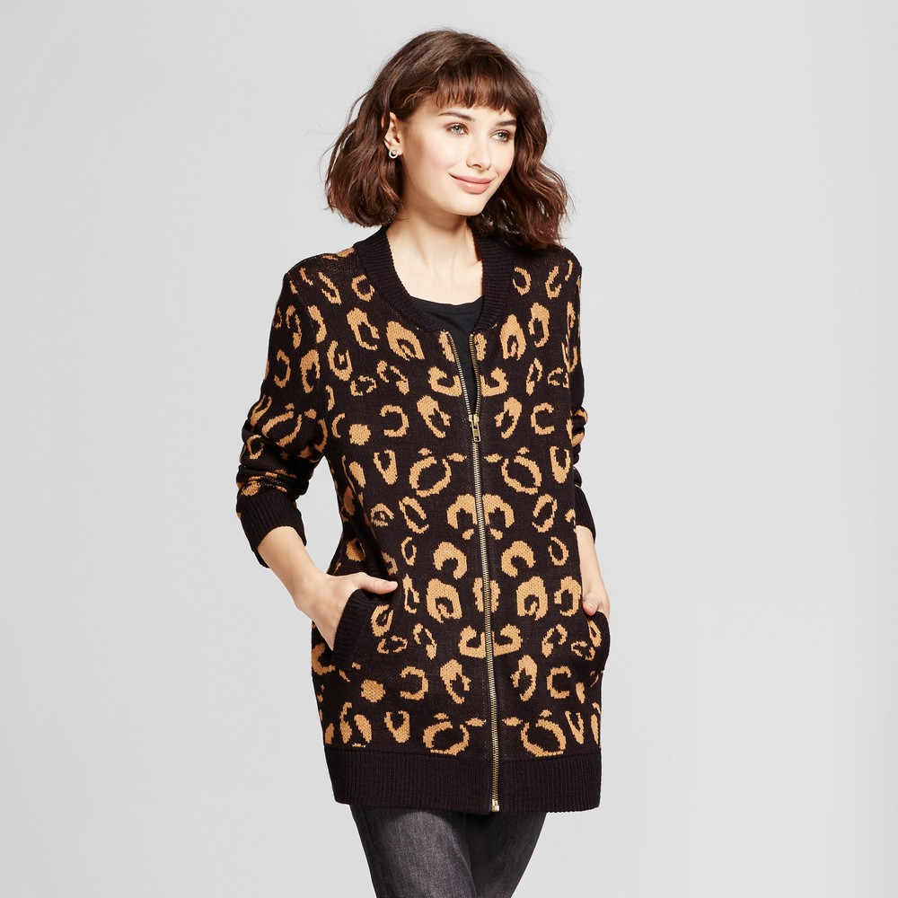 Womens Animal Print Zip Front Cardigan - Alison Andrews Black/Brown XL, Multicolored