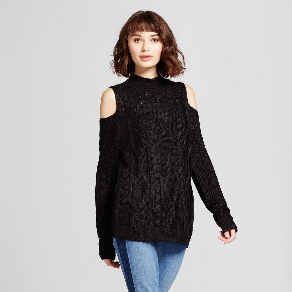 Womens Cold Shoulder Pullover Sweater - Alison Andrews Black M