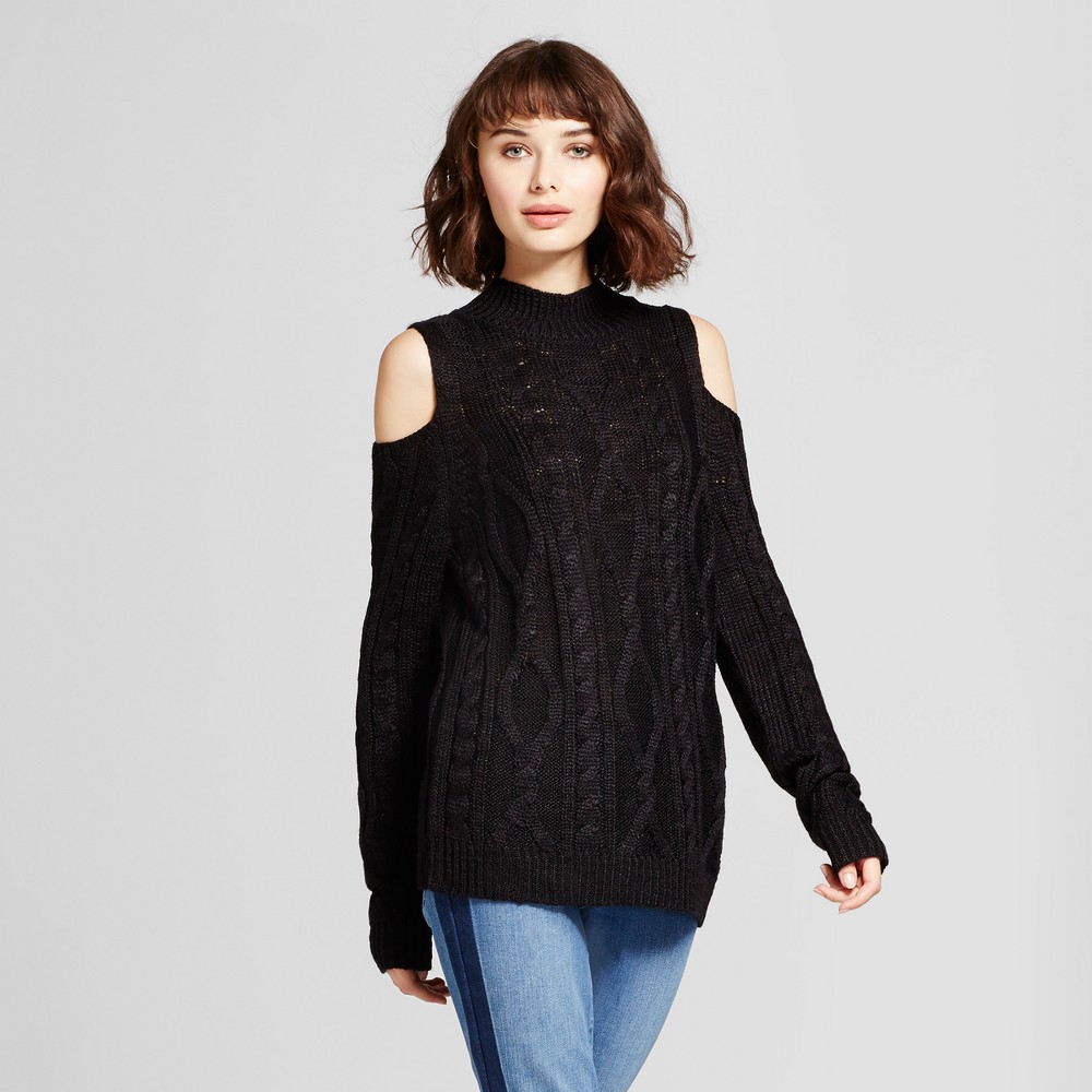 Womens Cold Shoulder Pullover Sweater - Alison Andrews Black L