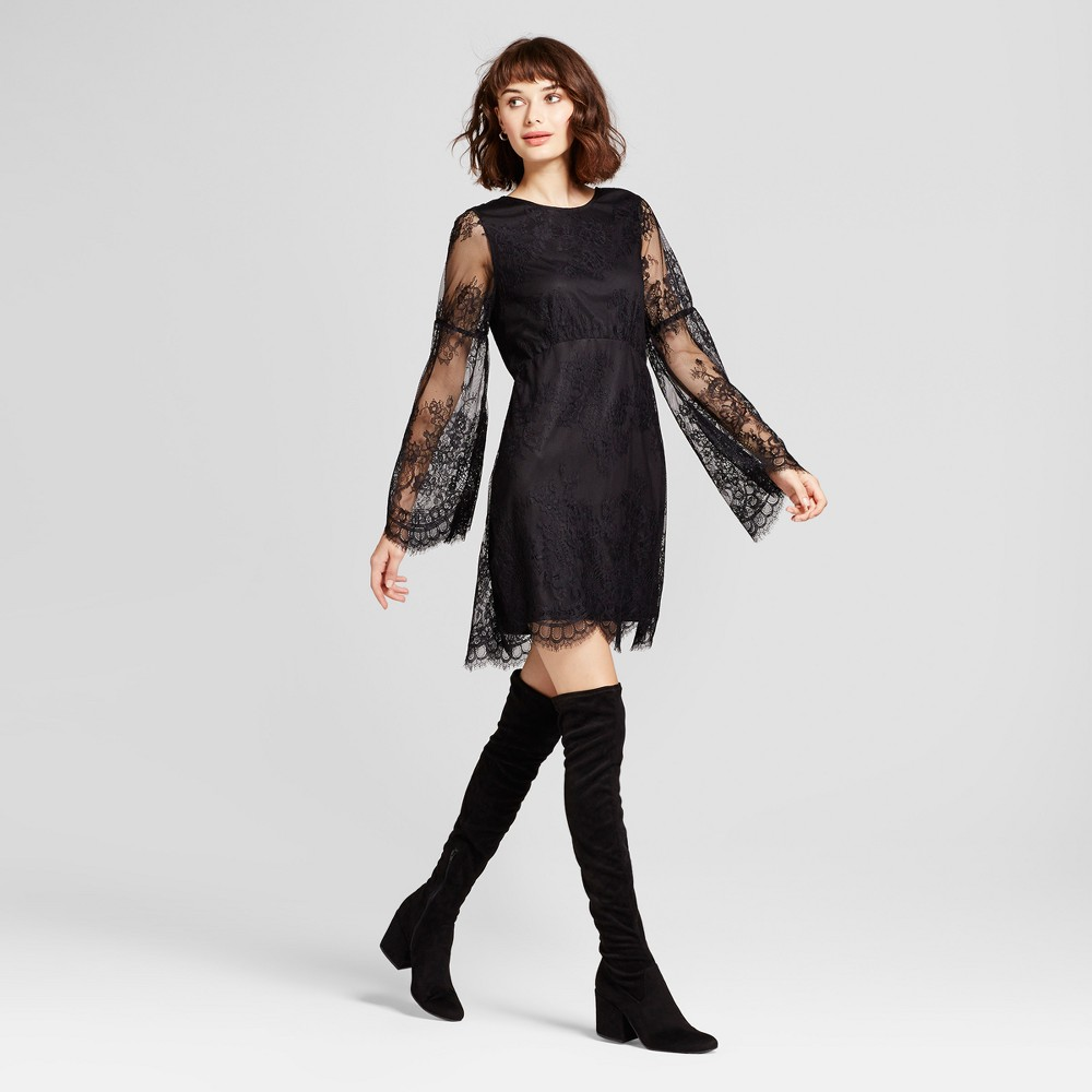 Womens Long Sleeve Lace Dress - Alison Andrews Black M