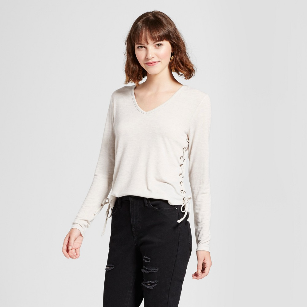 Womens Long Sleeve Side Lace-Up T-Shirt - Mossimo Supply Co. Oatmeal L