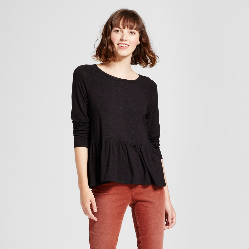 Womens Knit Peplum Top - Mossimo Supply Co. Black L