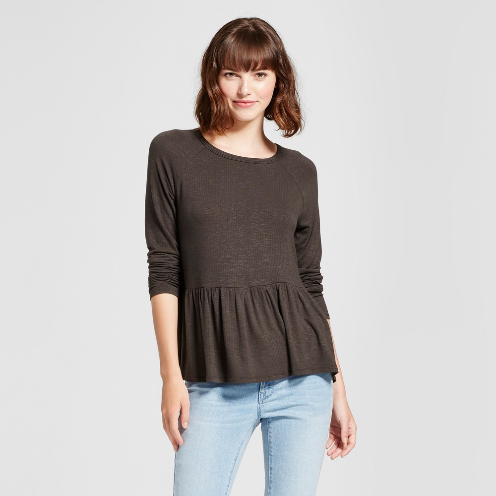 Womens Knit Peplum Top - Mossimo Supply Co. Olive (Green) XS