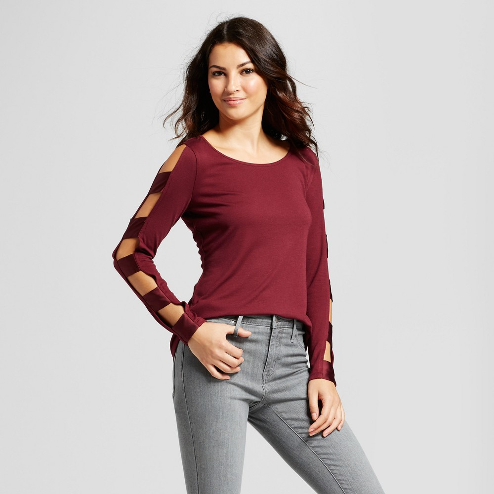 Womens Plum Scoop Neck Blouse with Ladder Sleeve Detail - Simply by Love Scarlett Plum M, Purple