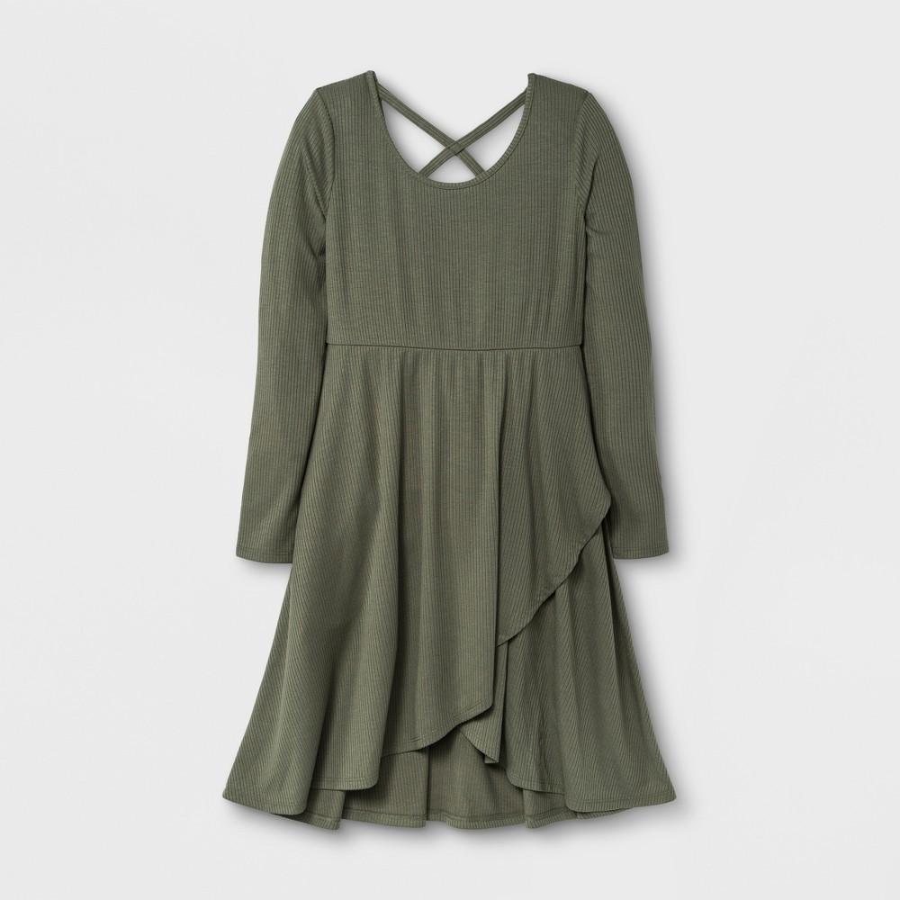 Girls Long Sleeve Knit Wrap Dress - Art Class Olive (Green) XL