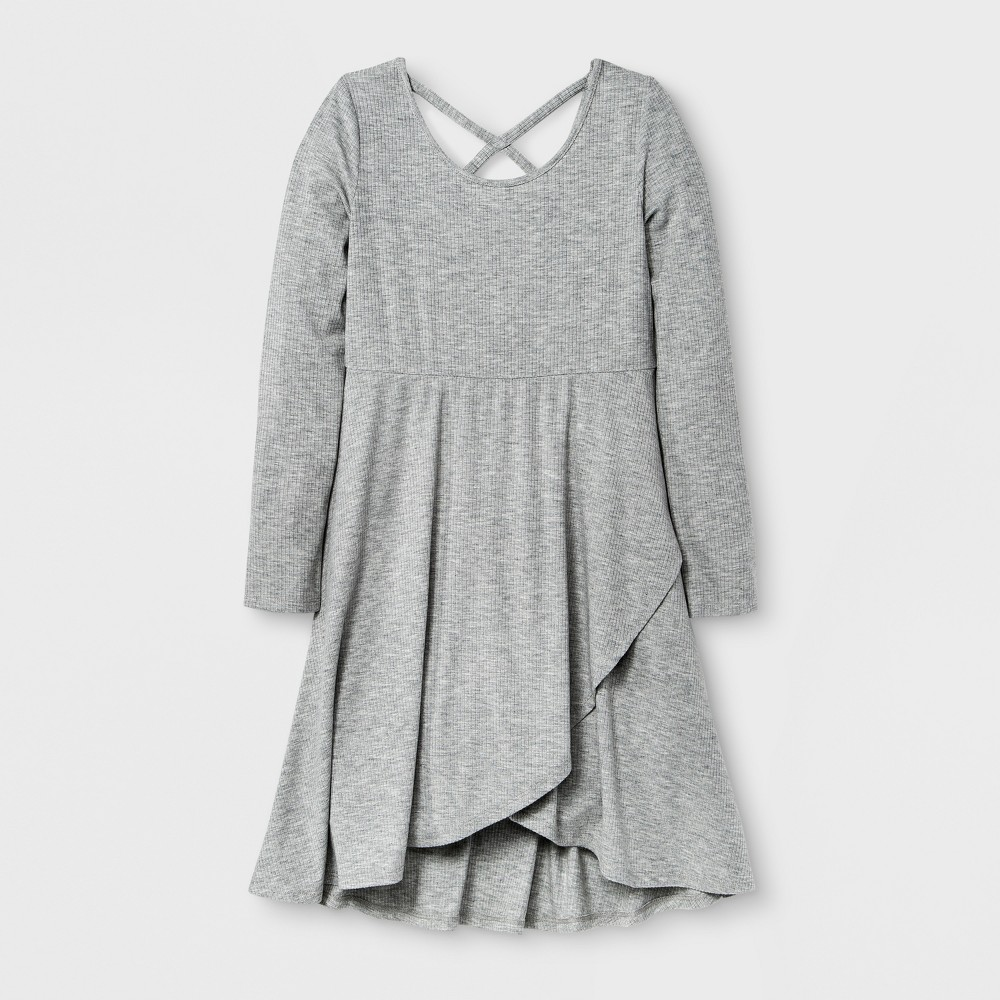 Girls Long Sleeve Knit Wrap Dress - Art Class Heather Gray M