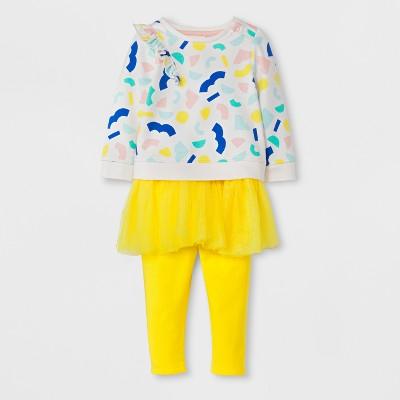 Baby Girls' 2pc Sweatshirt with Ruffle and Cozy Skegging Set - Cat & Jack™ Yellow NB