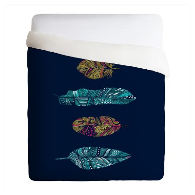 Blue Stephanie Corfee Doodle Feather Collection Duvet Cover Set (King)- Deny Designs®