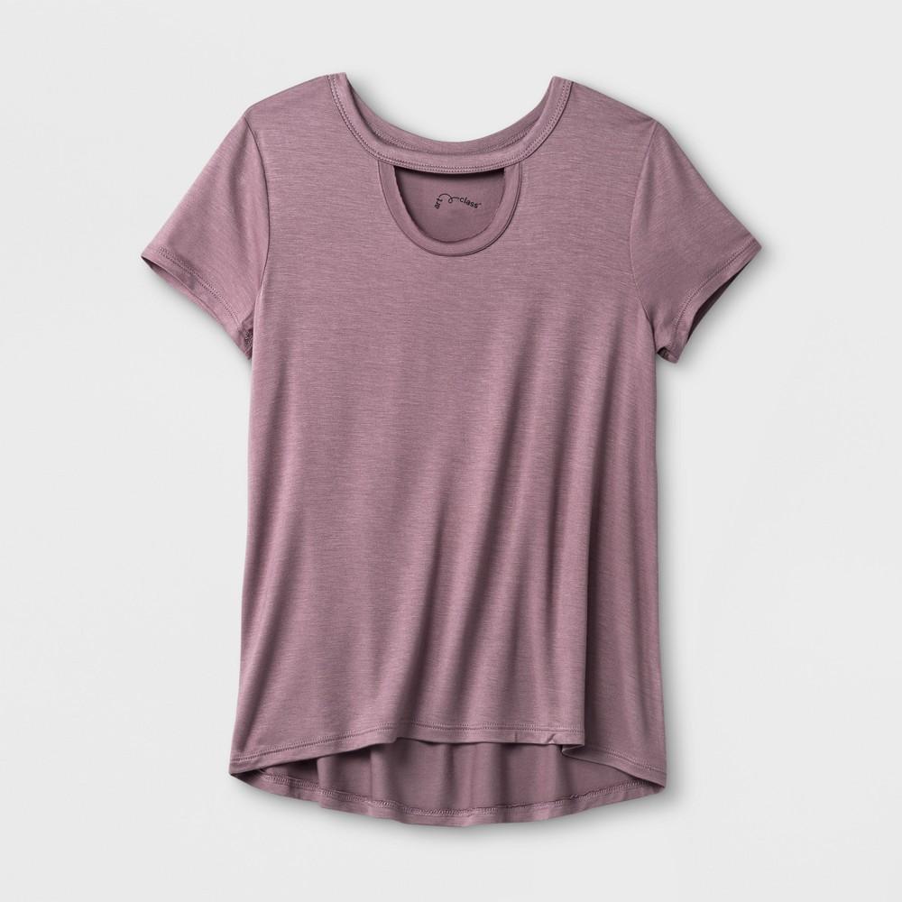 Girls Short Sleeve Choker Neckline T-Shirt Art Class - Mauve (Pink) XL