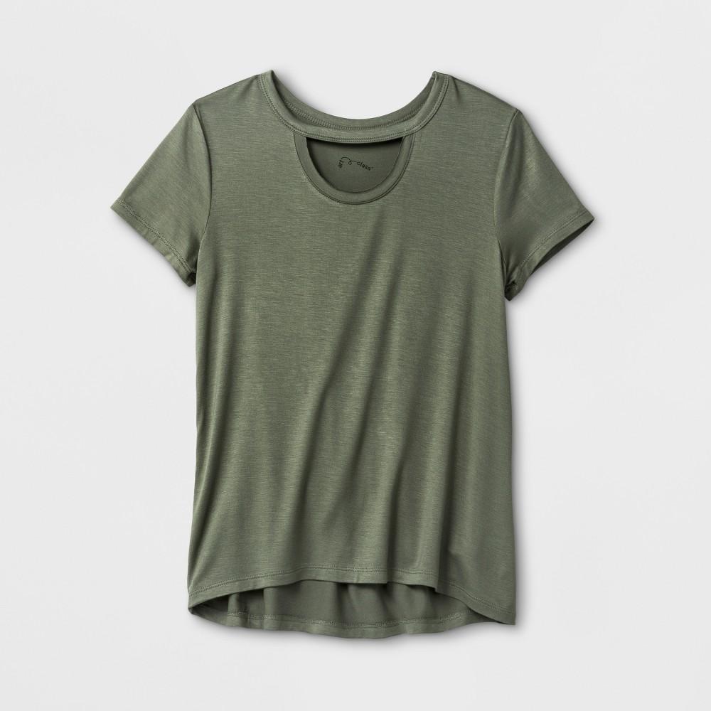 Girls Short Sleeve Choker Neckline T-Shirt - Art Class Olive (Green) XS