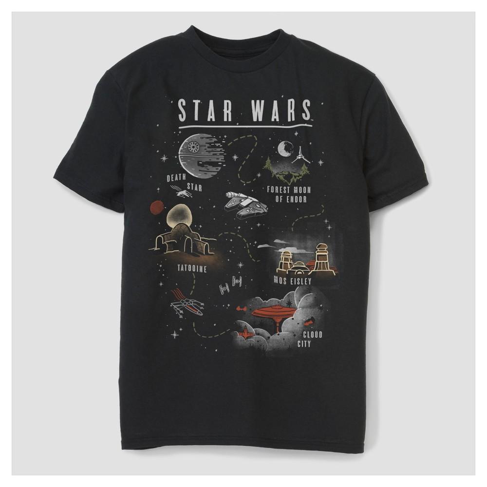Mens Star Wars Big & Tall Map Travelocity T-Shirt - Black 3XL