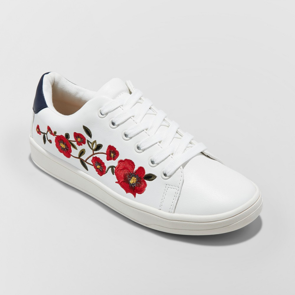 Womens Bebe Lace Up Embroidered Sneakers - A New Day White 6.5