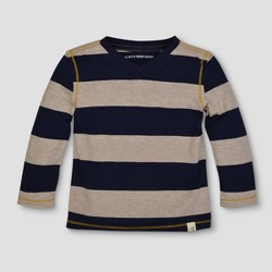 Burt's Bees Baby™ Toddler Boys' Rugby Stripe Long Sleeve V-Neck T-Shirt - Starry Night