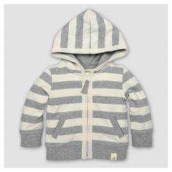 Burt's Bees Baby™ Toddler Boys' Striped French Terry Zip Hoodie - Heather Gray