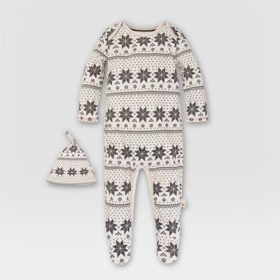 Baby Organic Snowflake Fair Isle Coverall and Hat Set - Burt's Bees Baby 3-6M