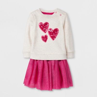 Baby Girls' 2pc Hearts Sweatshirt and Sparkle Tutu Set - Cat & Jack™ Oatmeal/Pink 18 M