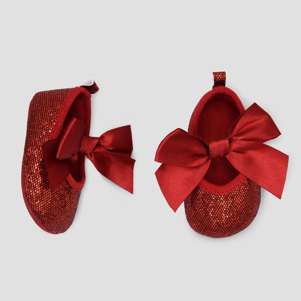 Baby Girls' Satin Mary Jane Shoes - Cat & Jack Red 6-9 M