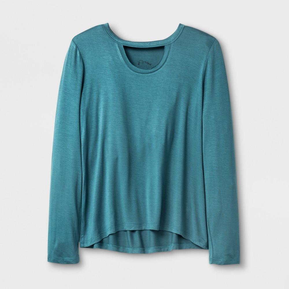 Girls' Long Sleeve Choker Neckline T-Shirt - Art Class Aqua (Blue) XS
