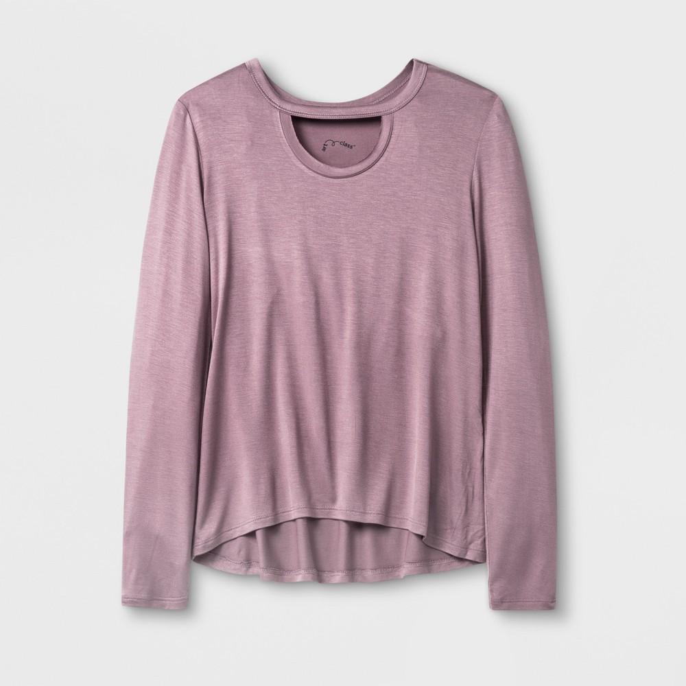 Girls Long Sleeve Choker Neckline T-Shirt - Art Class Mauve (Pink) S