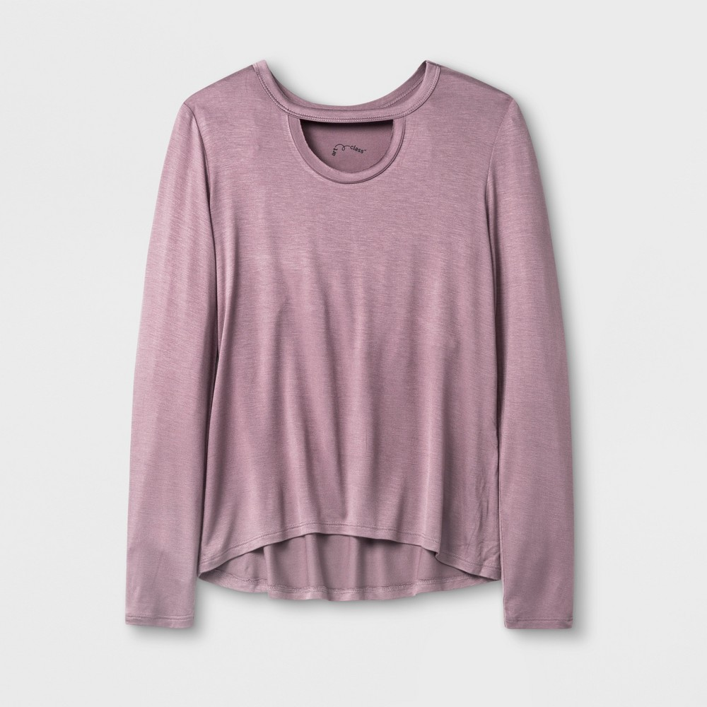 Girls Long Sleeve Choker Neckline T-Shirt - Art Class Mauve (Pink) M