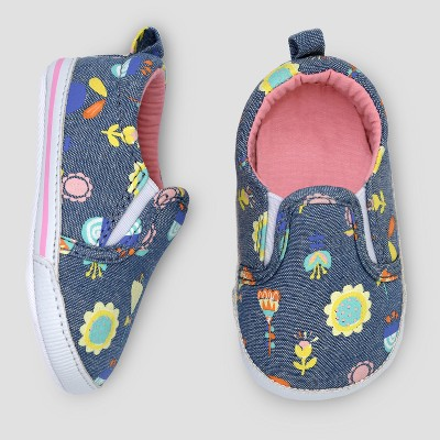 Baby Girls' Slip On Sneakers - Cat & Jack™ Navy/Floral 6-9 M