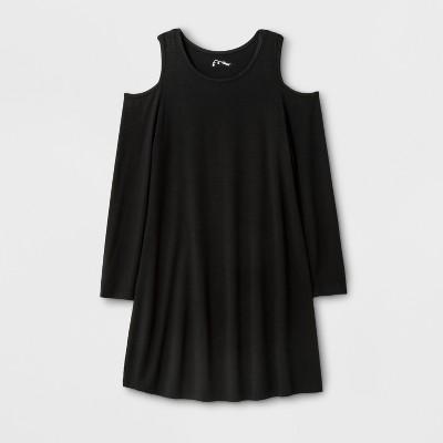 Girls' Long Sleeve Cold Shoulder Knit Dress - art class™ Black S
