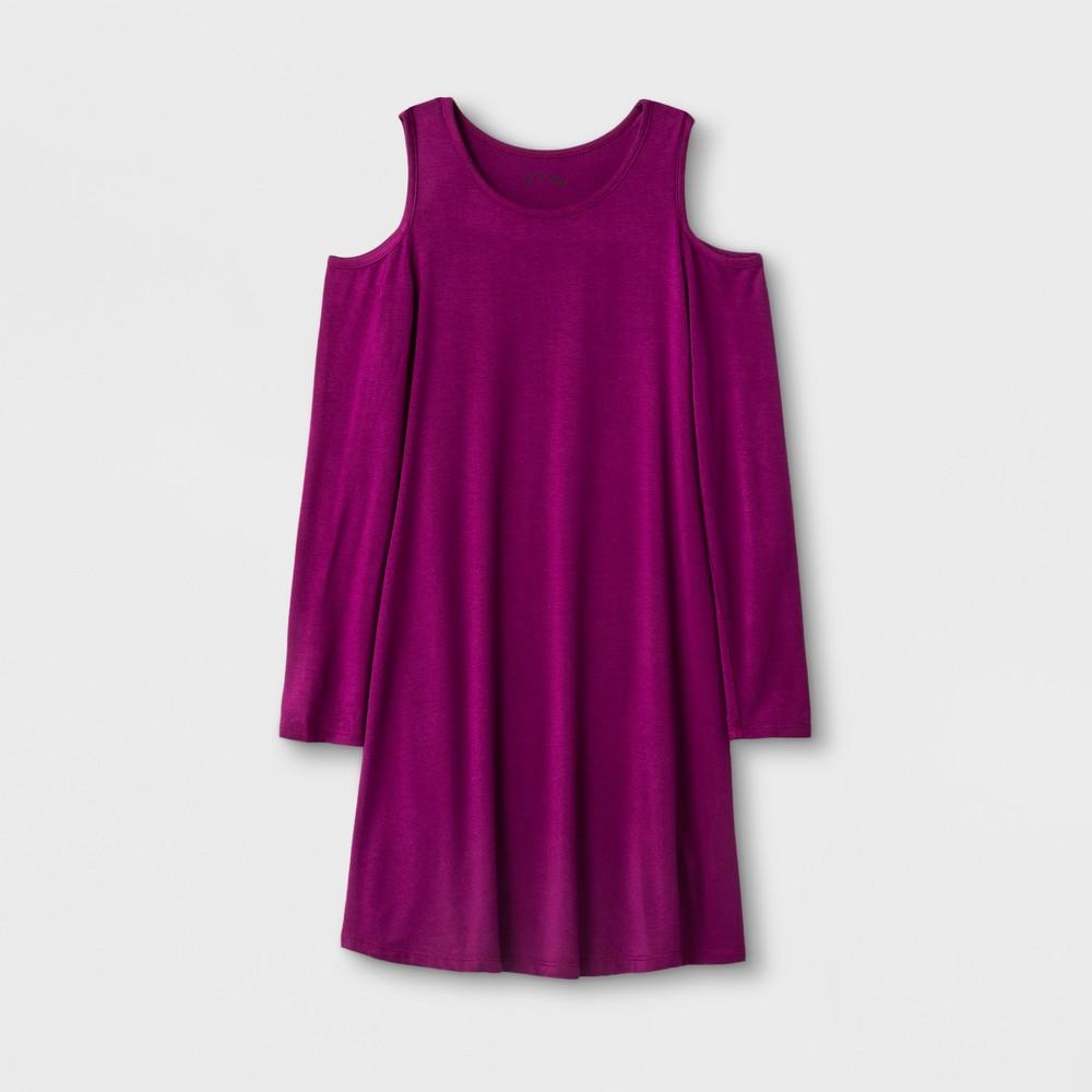 Girls Long Sleeve Cold Shoulder Knit Dress - Art Class Berry (Pink) S