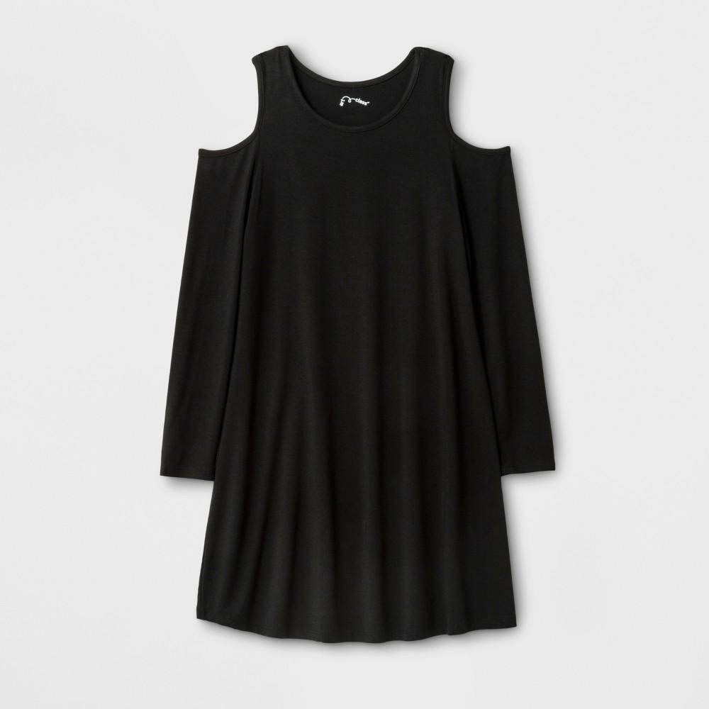 Girls Long Sleeve Cold Shoulder Knit Dress - Art Class Black XL