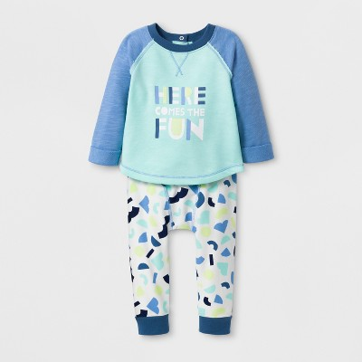 Baby Boys' 2pc 'HERE COMES THE FUN' Long Sleeve Pullover and Leggings Set - Cat & Jack™ Aqua Float 6-9M