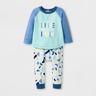 Baby Boys' 2pc 'HERE COMES THE FUN' Long Sleeve Pullover and Leggings Set - Cat & Jack™ Aqua Float NB