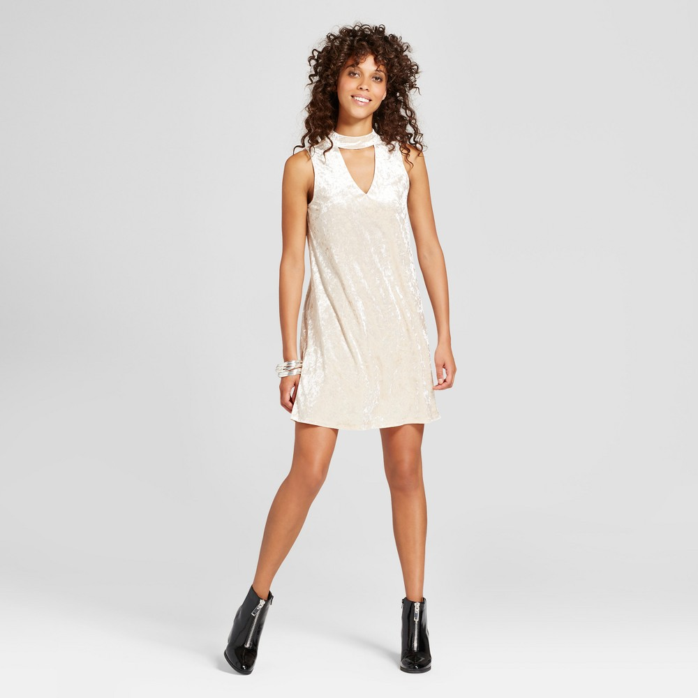 Womens Crushed Velvet Choker Neck Dress - Soul Cake (Juniors) Stone L, White