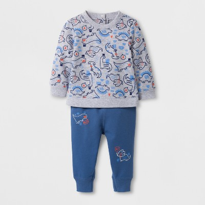 Baby Boys' 2pc Printed Long Sleeve Pullover and Jogger Set - Cat & Jack™ Gray/Blue NB